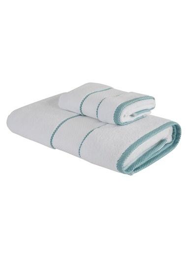 Bella Maison %100 Pamuk Minho Beyaz - Mint Havlu Seti 2'li (40x60 ve 70x150 cm) Beyaz